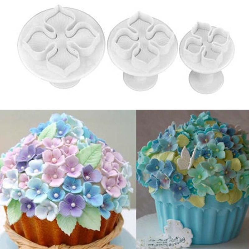 3Pcs/set Hydrangea Laurustinus Flower Gum Paste Cookie Cutters Cookie Mold Plunger Cutter Fondant Cake Decrating Tool Cake Tools