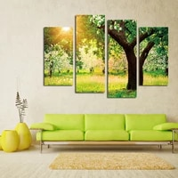 fashion hd sunlight through the leaves landscape canvas painting 4 panels wall picture for living room no frame wall sticker
