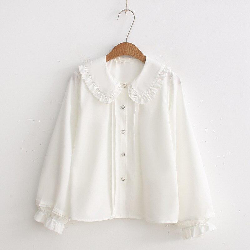 2019 Fashion Gothic Lolita Blouse Shirt Peter-Pan Collar Cosplay Kawaii Shirt Lo Peplum Tops White Blouse