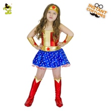 Filles héros filles amérique Costumes beaux enfants étoile-imprimé Super héros robe carnaval mascarade fête courageux héros Cosplay vêtements