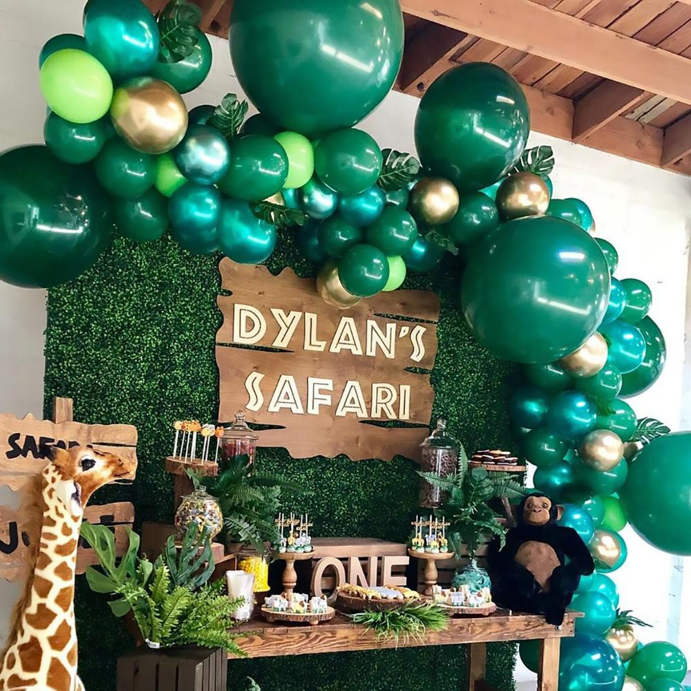 QIFU Baby Shower globos de cumpleaños de animales jungla fiesta de Safari selva tema globo para fiesta decoración del banquete de boda chico cumpleaños