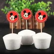 Cupcakes de décoration Mickey Mouse 24 pièces/lot   Fournitures décoratives pour fête prénatale anniversaire enfant, cadeaux