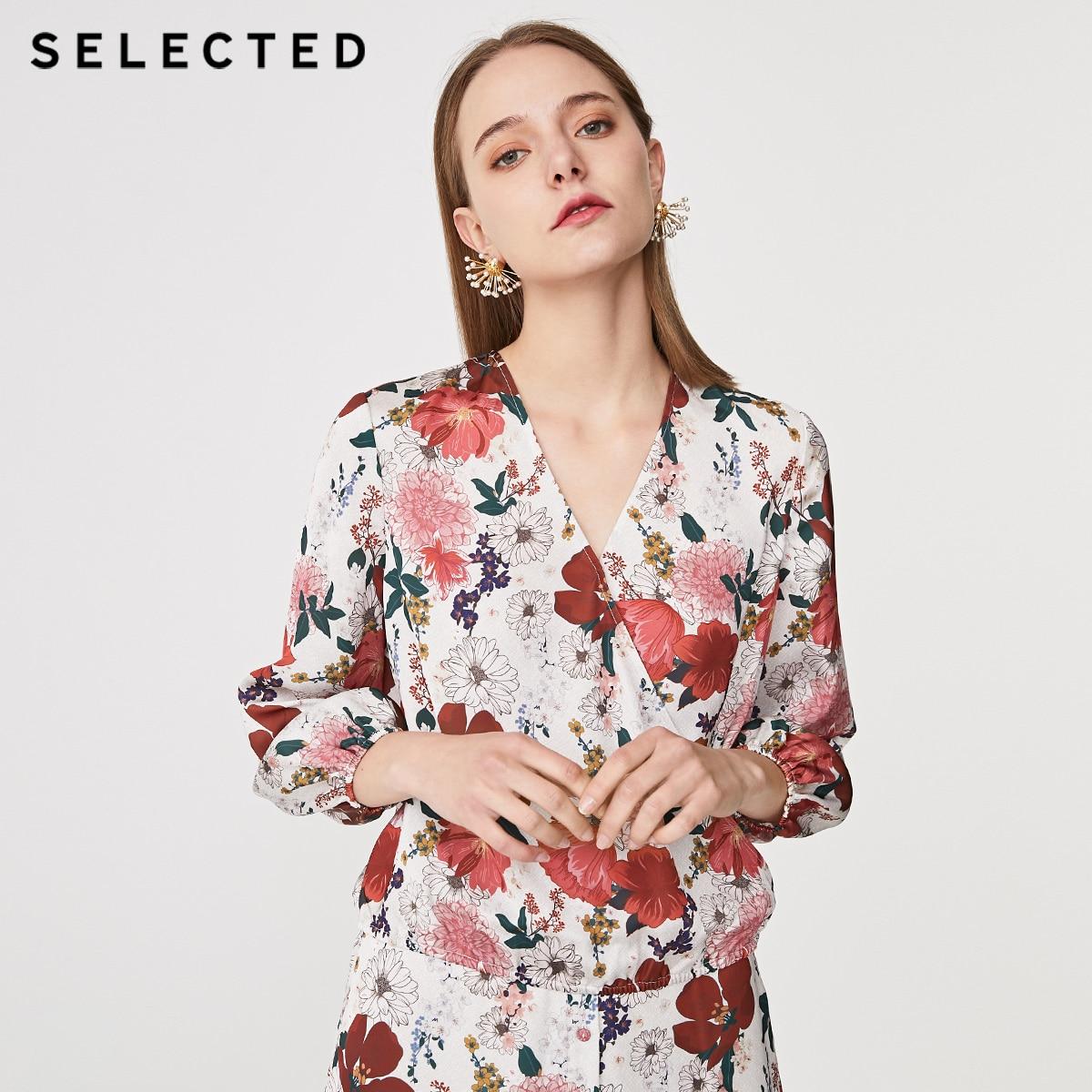 SELECTED Women's Summer Chiffon Print Loose Fit Long-sleeved Shirt S 419251508