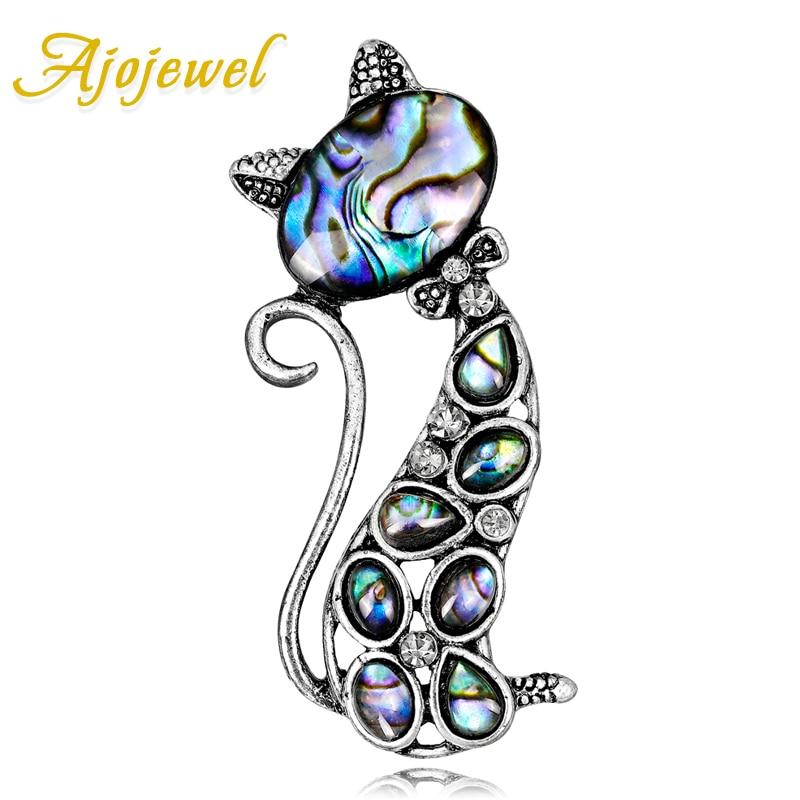 Ajojewel Fashion Womens Cat Brooch Rhinestone Vintage Collar Brooch Pin Luxury Natural Abalone Shell Jewelry Gift Drop Ship