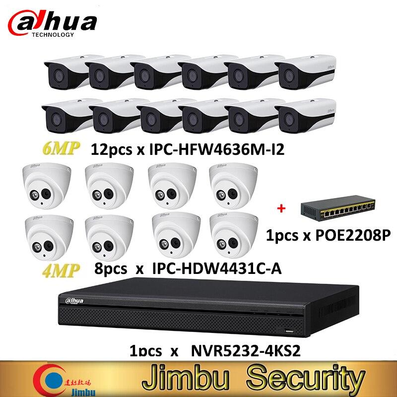 Dahua NVR kit 1 Uds NVR5232-4KS2 y cámara IP 12 Uds lens6mm IPC-HFW4636M-I2 y 8 Uds lens2.8mm IPC-HDW4431C-A y 1 Uds POE2208P