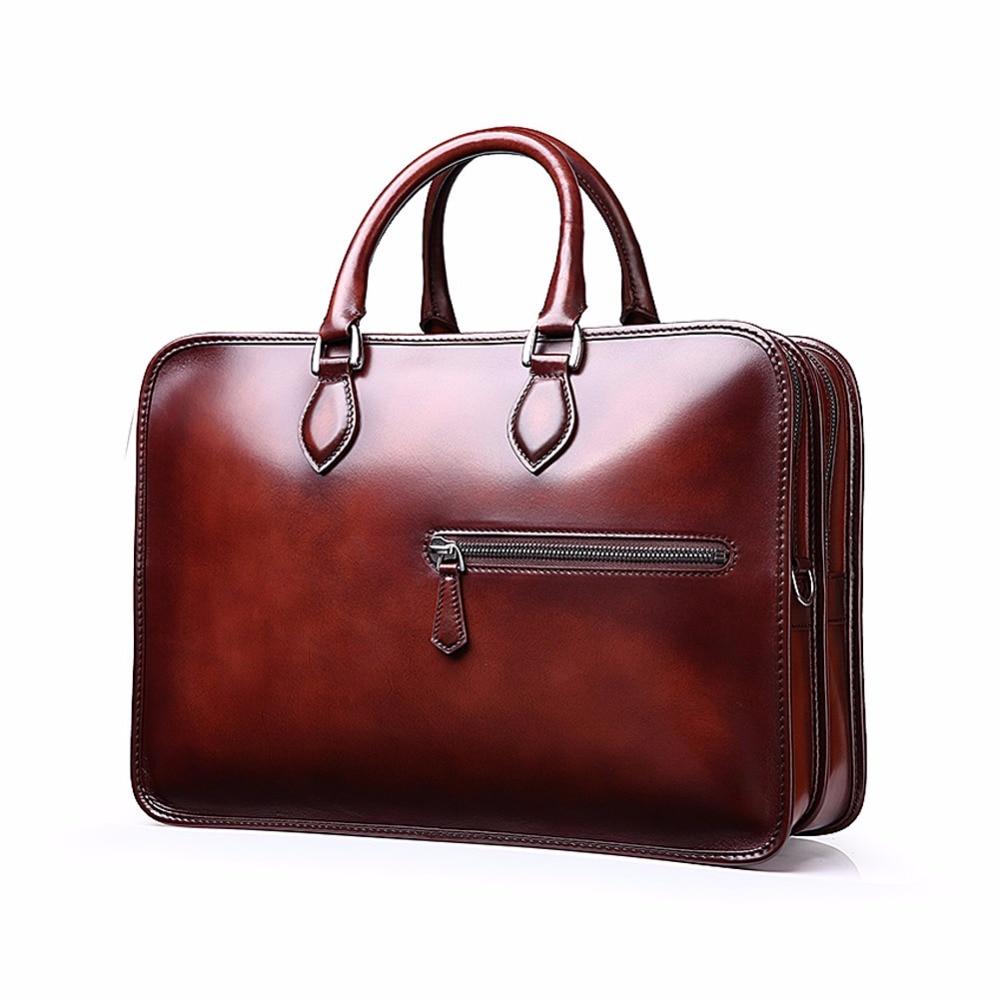 TERSE Wholesale Price Men Business Briefcase Handmade Venezin Cow Leather Handbag Shoulder Bag 4 Color in Stock Dropshipping 361