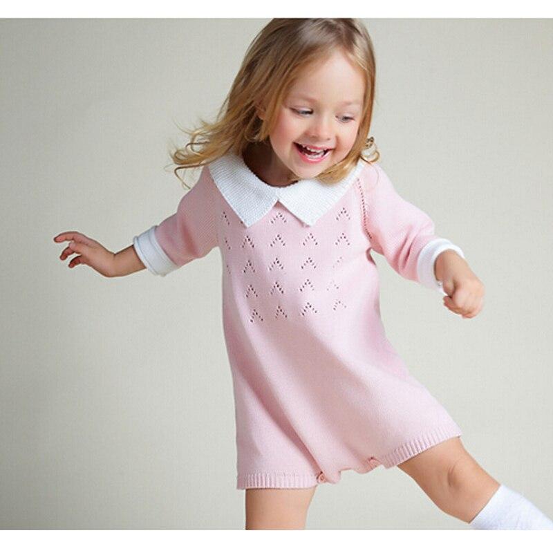 New 2018 Baby Girls Dress Cotton Knit Crochet Baby Girl Romper Kids Seven Sleeve Jumpsuit Infant New Born Toddler Sweater Dress
