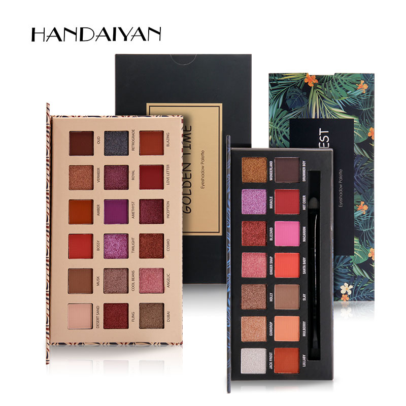 HANDAIYAN 14-18 colores mate paleta de sombra de ojos maquillaje Somkey impermeable purpurina paleta de sombra de ojos cosméticos