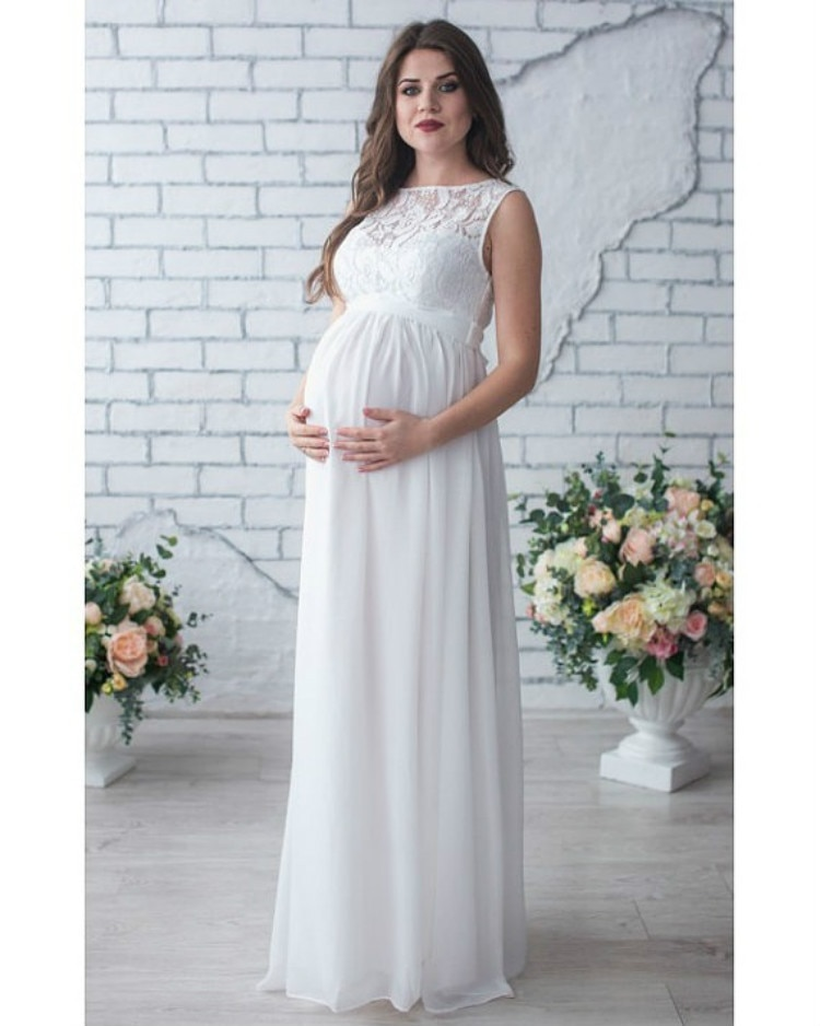 Pregnant Women Dress Sleeveless Maternity Clothing Party Evening Dresses Lady Lace Long Clothes Photo Shooting Dress for Mother enlarge