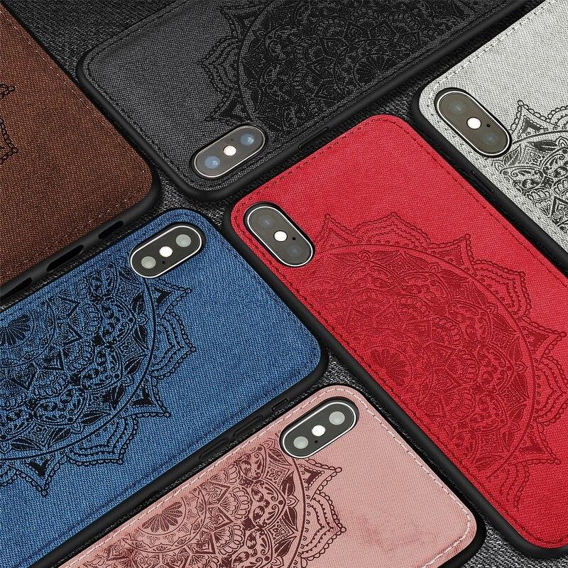 3D Мандала ткань кожи жесткий чехол для iPhone XS Max XR X 10 тонкий встроенный металлический лист автомобильный держатель чехол для iPhone 7 8 6 6s Plus