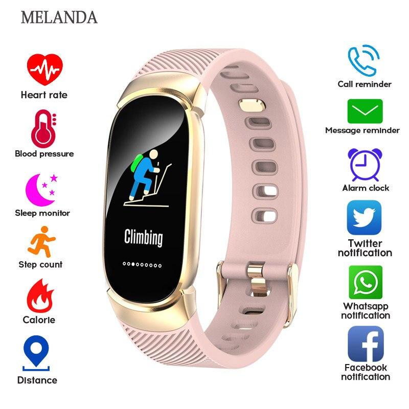 MELANDA женские умные часы, спортивные Шагомер, умные часы, пульсометр, кислородный монитор, фитнес-трекер, напоминание о звонках