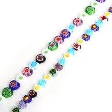 39 cm/lot Millefiori Blume Murano Glas Perlen Herz Form Lose Perlen Für Schmuck Machen Handwerk DIY Halskette & Armband