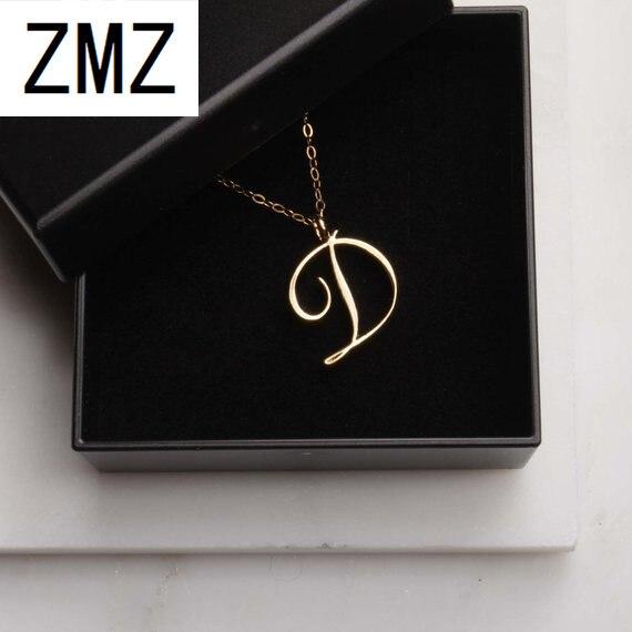 Colgante de letra inglesa ZMZ 2019 a la moda de Europa/EE. UU. Encantador collar con texto de letra D Regalo para mamá/novia joyería para fiesta