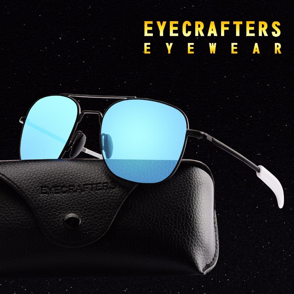 Blue Brand Designer Polarized Sunglasses Mens Pilot Military Sunglasses Driving Mirrored Glasses Eye