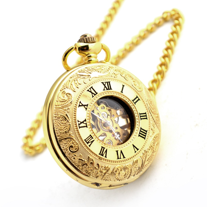 Gold Mechanical Pocket Watch Business Roman Numerals Fob Watches for Mens Gifts Womens Accessories Wedding Gift Qi Wu