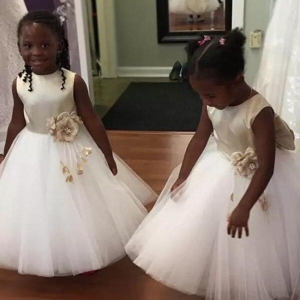 Vestido bonito de dos elegantes flor para niña, vestido de flores sin mangas con cuello de joya con lazo grande, vestido de comunión para niña, desfile de flores para niños