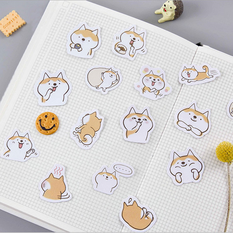 45pcs/lot Cute dog mini paper sticker decoration DIY ablum diary scrapbooking label sticker kawaii stationery Label Stickers checkered kraft feather map flowers lines retro plant old letters background sticker diy ablum diary scrapbooking label sticker