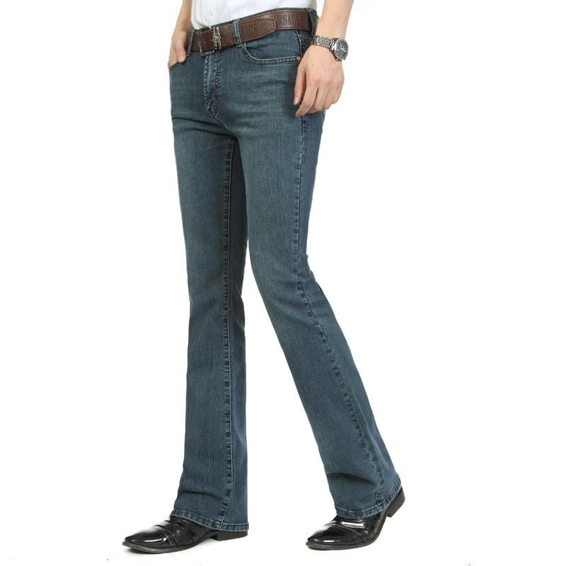 O envio gratuito de alta qualidade 2018 four seasons novo inteligente casual bootcut calças jeans negócio alargamento calças plus size