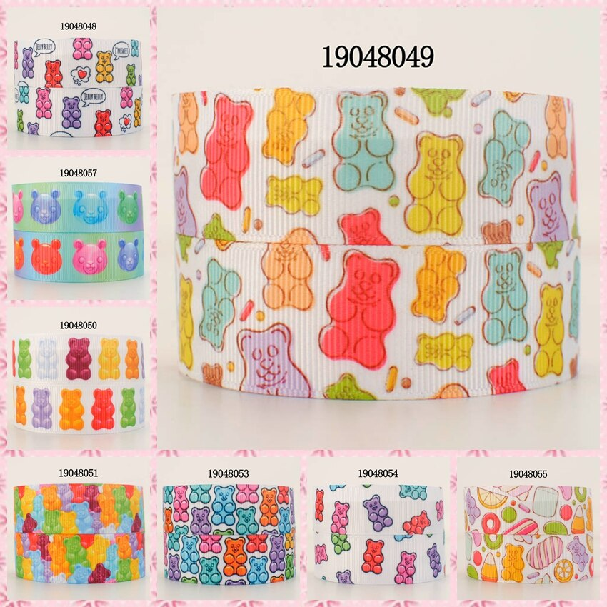 10 yardas-diferentes tamaños-Cinta con patrón de oso caramelo cinta de grosgrain estampada diy 19048048