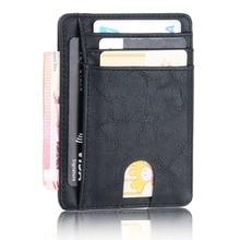 THINKTHENDO-cartera de cuero con bloqueo RFID para hombre y mujer, billetera delgada con bloqueo RFID, tarjetero de identificación de crédito, monedero, funda de dinero, bolso de moda 2020, 11,5x8x0,5 cm