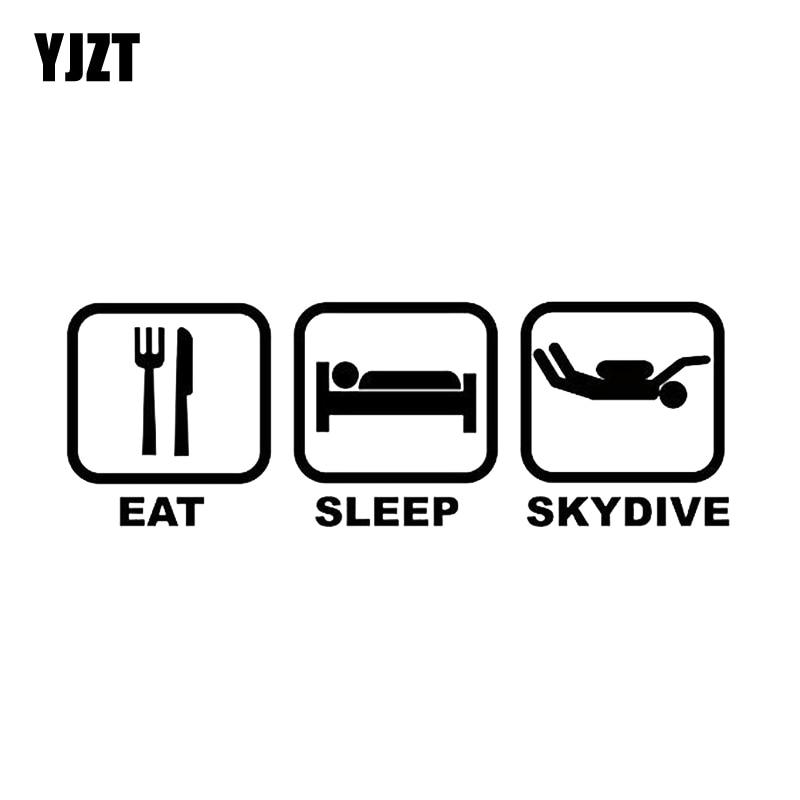 YJZT 16,4*5,6 CM interesante Eat Sleep SKYDIVE coche pegatinas vinilo accesorios silueta C12-0752