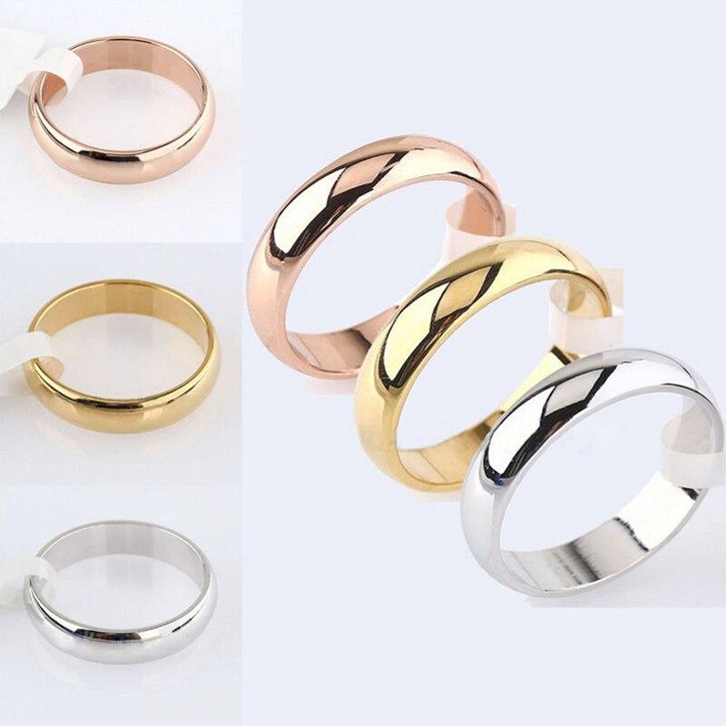 Anillo de acero inoxidable pulido de oro rosa para mujer y hombre, joyería de boda, regalo de San Valentín