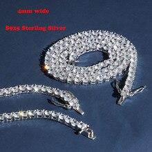 S925 Sterling Silber 4mm 1 Reihe CZ Stein Tennis Kette Halskette Frauen Mode Halsketten Männer Hip Hop Bling Eis heraus Rapper Schmuck