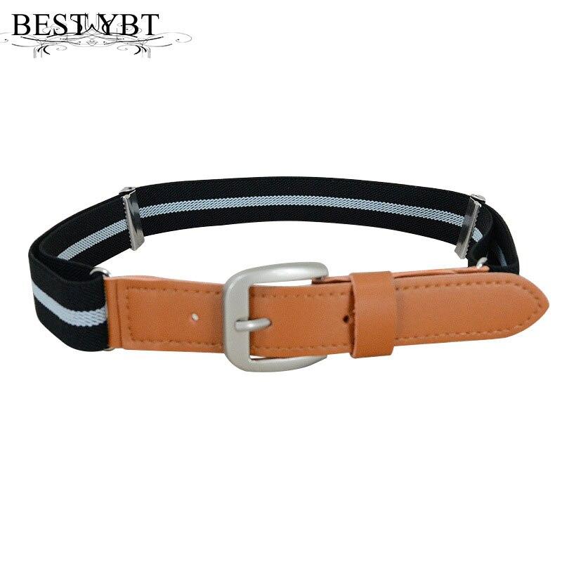 El mejor YBT, cinturón de lona para niños, banda elástica, hebilla de alfiler de aleación, cinturón para niños y niñas, cómodo cinturón casual de uso