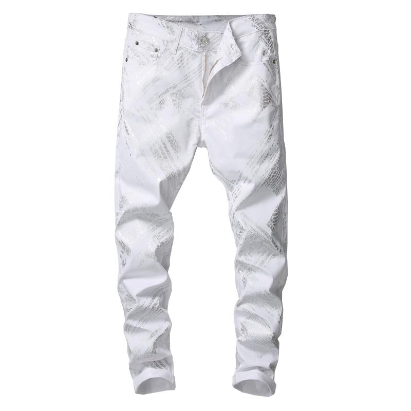 Sokotoo masculino prata cobra pele impresso jeans branco moda magro ajuste calças de brim estiramento