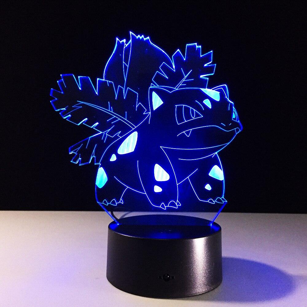 Nowy Pokemon lampa 3D Pikachu lampka nocna dla dzieci zabawki USB Lampe kieszonkowe potwory lampora fabryka hurtownie Illusion 3d lampa