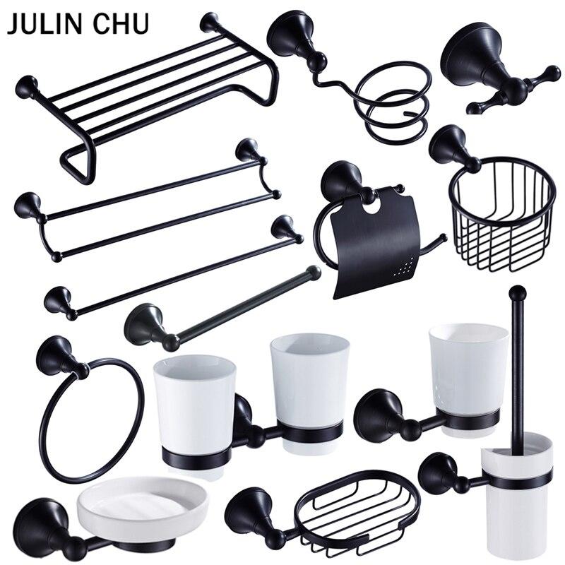 Juegos de accesorios de baño negros, estante de secado de pelo montado en la pared, soporte para papel de cocina, soporte de cepillo de baño, Hardware de baño