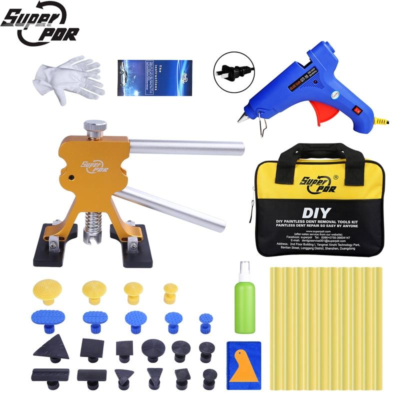 PDR Tools Car Dent Repair Removal Dent Puller Lifter Set Tool Bag Glue Gun Sticker Tabs