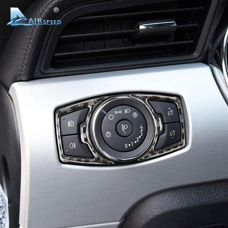 Airspeed, marco de altavoz para interruptor de Faro de fibra de carbono para Ford Mustang, pegatinas para coche, estilo 2015 2016 2017, accesorios para automóviles