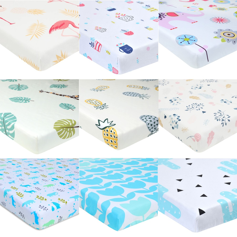 Comfortable Baby Mattress Cover Fitted Sheet Print For Crib Customized Soft Bed 130*70