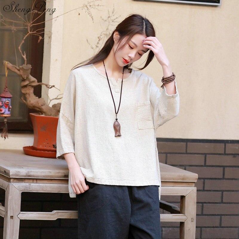 Blusa tradicional china para mujer, blusa de lino oriental con cuello mandarín, blusa de camisa para mujer, top cheongsam de invierno Q762