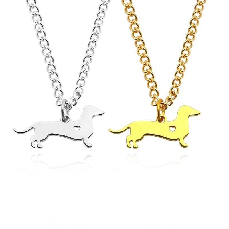 Collar dorado de perro salchicha perro cachorro perrito dije de corazón hueco colgante de Metal gargantilla collares para el propietario de los perros joyería