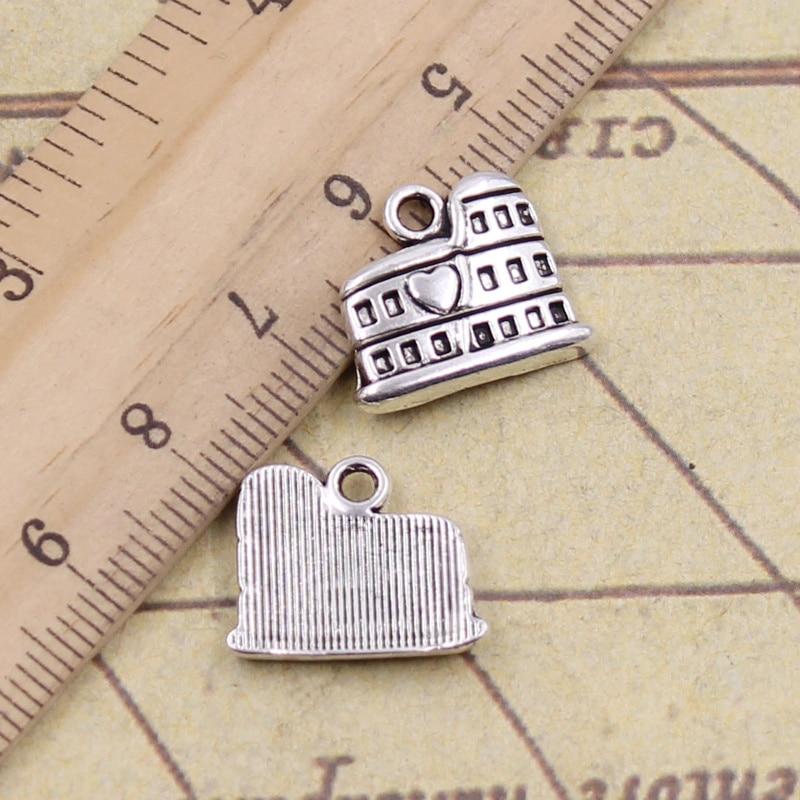12pcs/lot Charms Roman Colosseum Rome Italy 16x13mm Tibetan Pendants Antique Jewelry Making DIY Handmade Craft