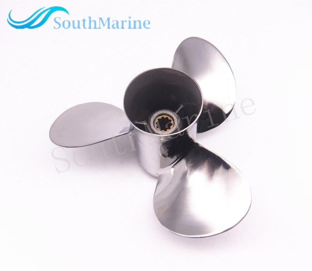 Hélice de Motor de barco de acero inoxidable 9 7/8x13-F para Yamaha 20HP 25HP 30HP Motor fuera de borda 9 7/8x13-F 664-45949-02-00