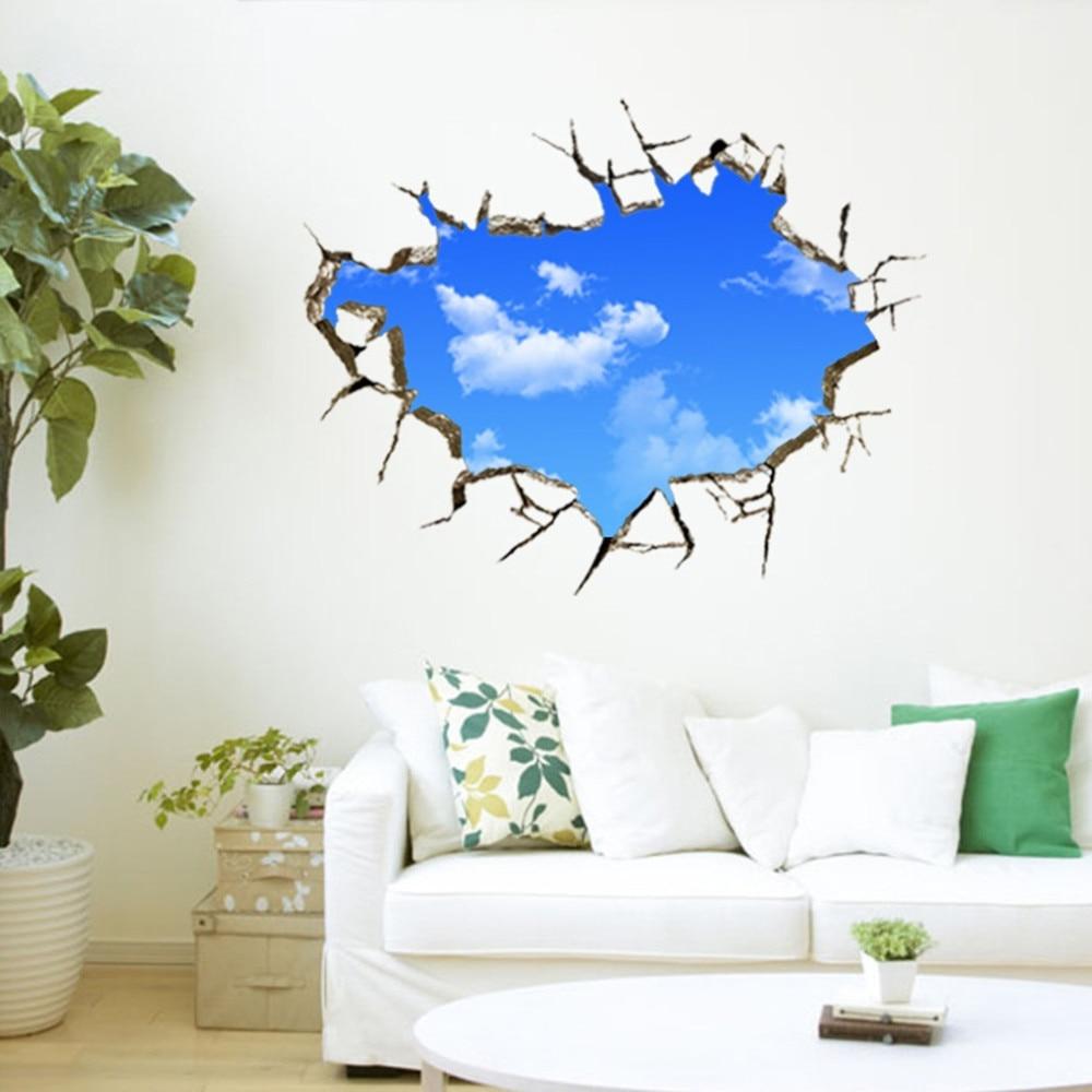 Nowy Kreatywny Błękitne Niebo Sufit Salonu Sypialni Naklejka Ścienna 3D Stereo 8