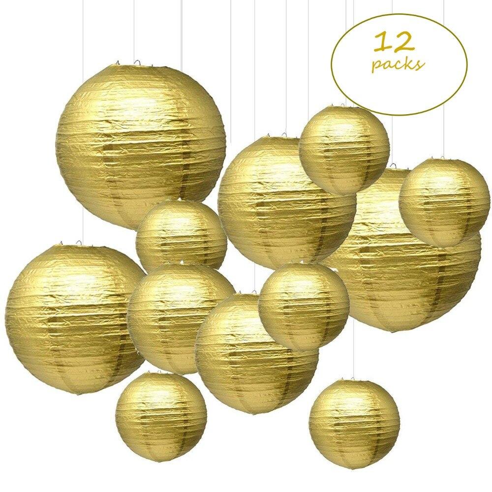 """12 pçs 6 """"-12"""" lanternas de papel de ouro chinês japonês boule papier lampion de mariage para festa de casamento de aniversário pendurado decoração diy"""