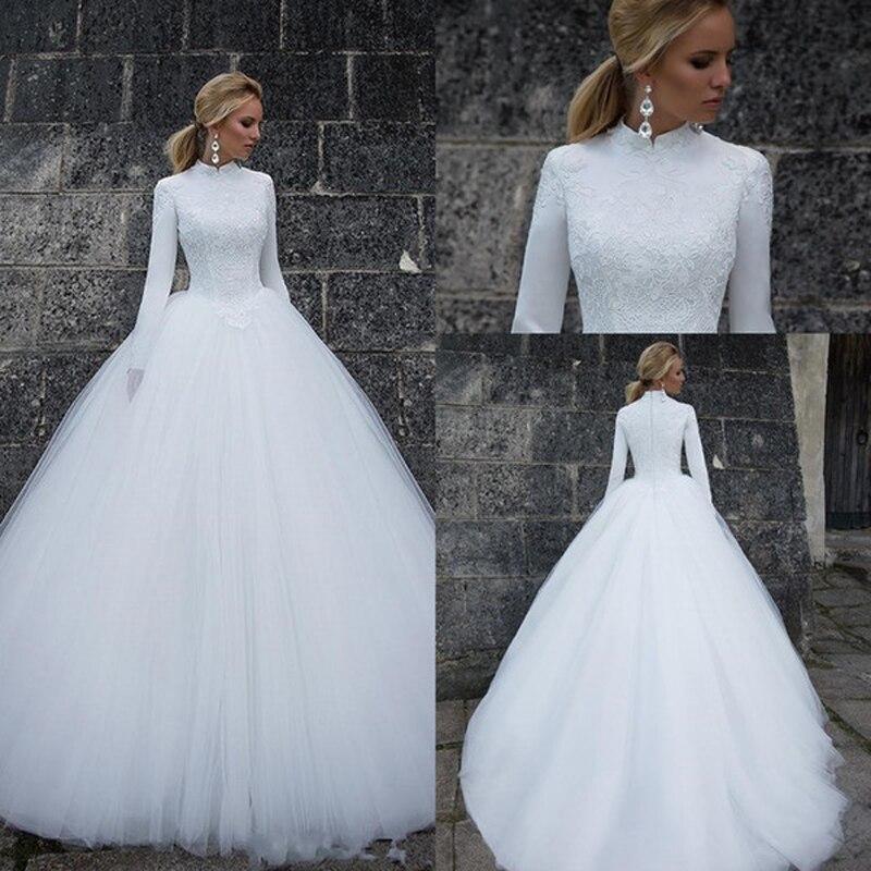 U-SWEAR 2020 vestidos de Novia musulmanes blancos Arabia Saudí Vestido de baile cuello alto mangas largas nupciales Vestido de Novia boda