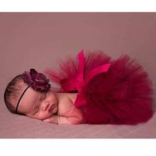 Yenidoğan Bebek Fotoğraf Sahne Bebek Çocuk Tül Tutu Etek Çiçek Kafa Bandı ile El Yapımı Fotoğraf Prop Aksesuar Bebek Giysileri