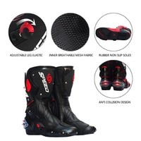 PRO-BIKER SPEED BIKERS Motorcycle Boots Moto Racing Motocross Off-Road Motorbike Shoes Black/White