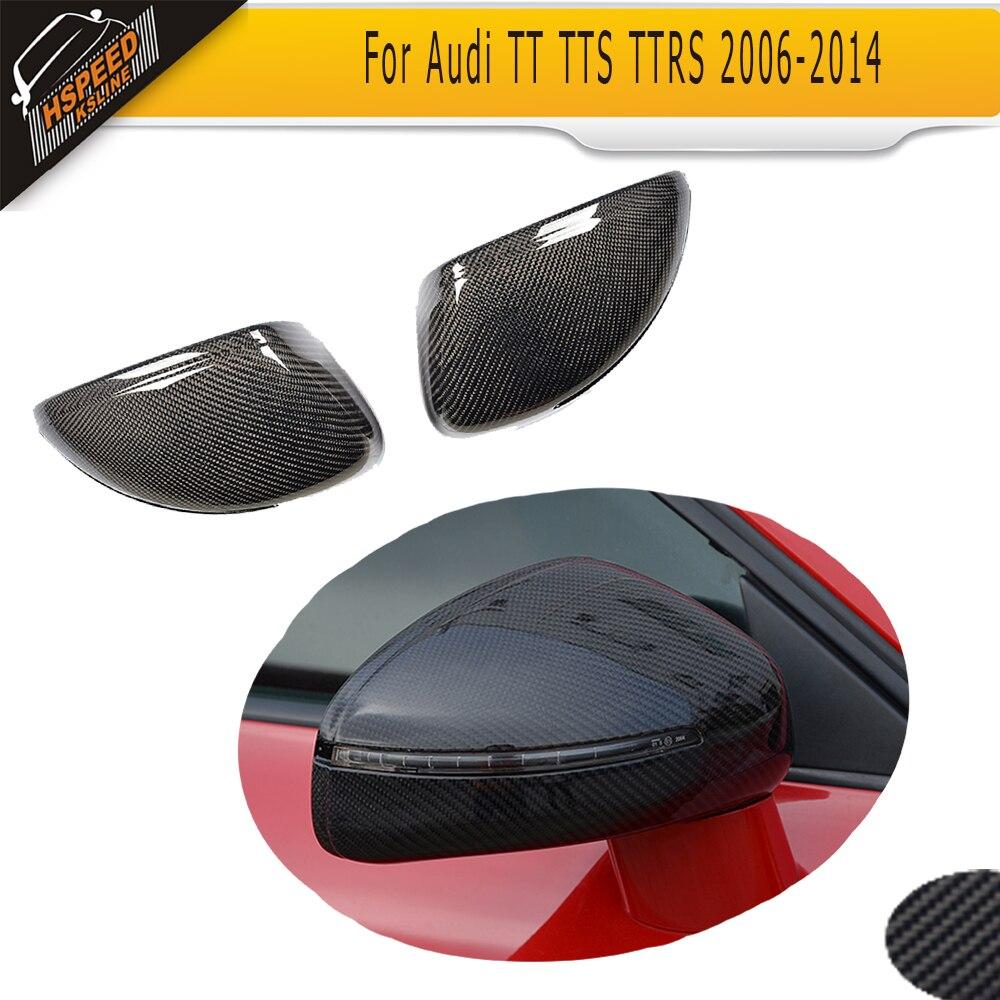 Reemplazo de la etiqueta engomada de la cubierta del espejo lateral del ABS para TT TTS 2008-2014 para la cubierta del espejo retrovisor del coche de la fibra de carbono de Audi R8 2007-2011