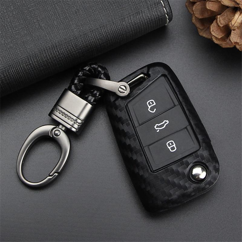 Housse de clé de voiture en Fiber de carbone   Pour VW Golf 7 GTI MK7 Octavi siège A7 Leon Ibiza, porte-clés à distance rabattable, style de voiture