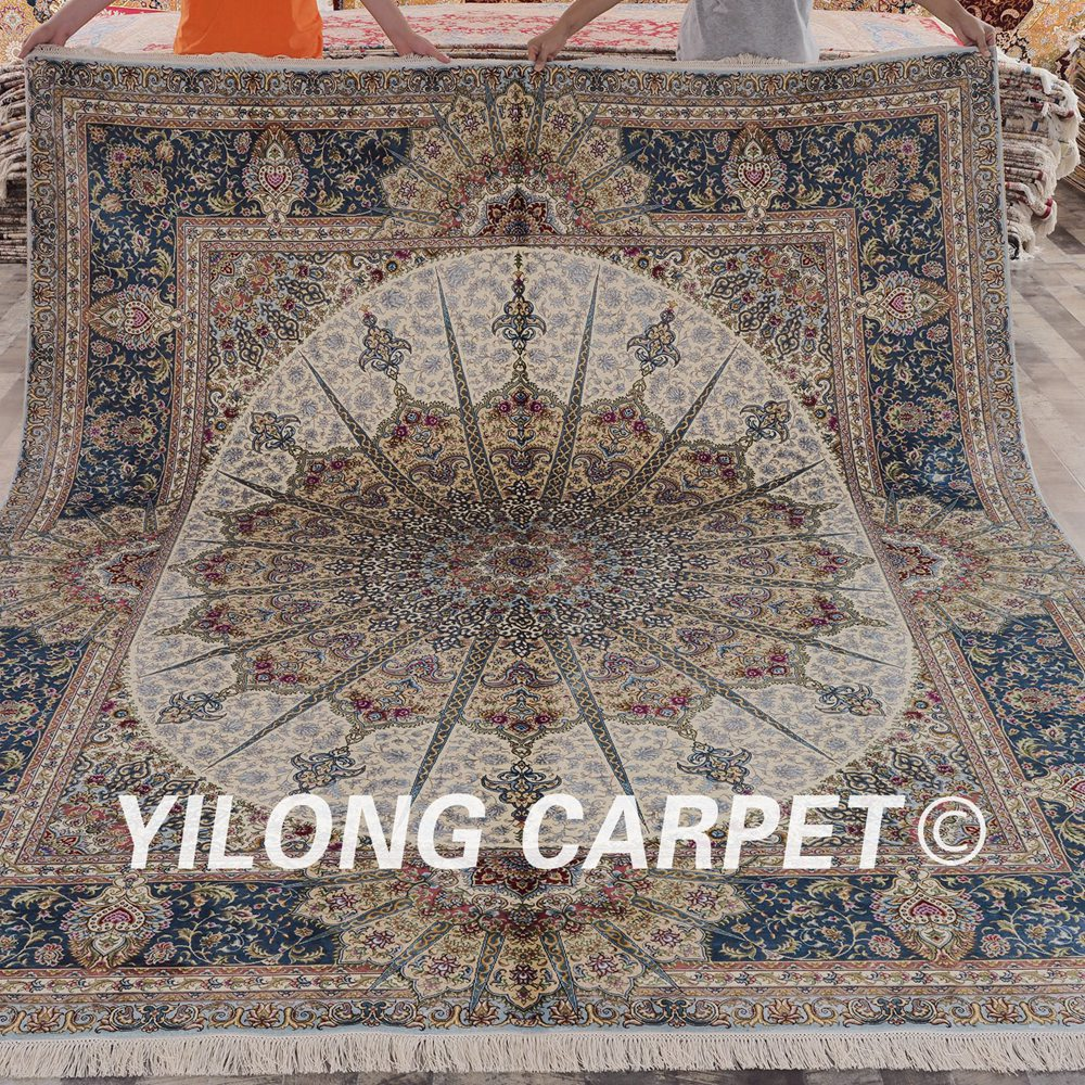 Alfombra persa China grande Yilong 8x10 medallón grande clásico alfombra de seda oriental (SL138A8x10)