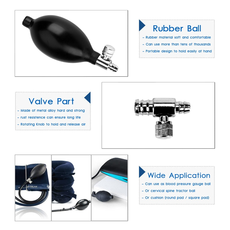 Medical Sphygmomanometer Tonometer Ball Blood Pressure Cervical Tractor Accessory Latex Air Inflation Balloon Bulb Pump Valve