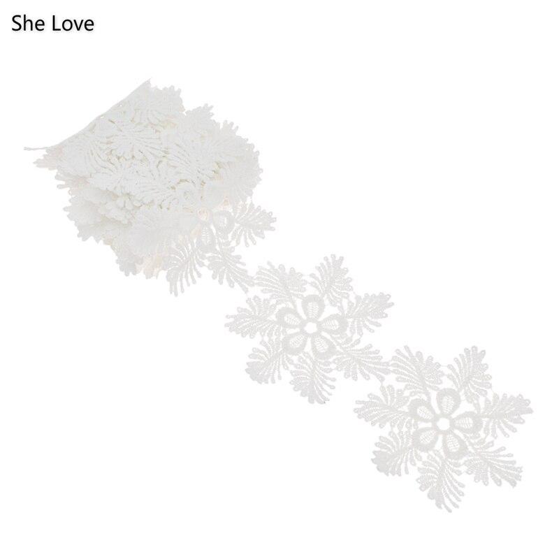 Chzimade 2 Yards flocon de neige dentelle brodée garniture mariée mariage couture Applique