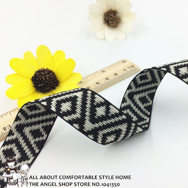 10 yardas 25mm 1 geométrico bordado tejido Jacquard cinta costura boda fiesta accesorios para el hogar DIY regalos paquete materiales