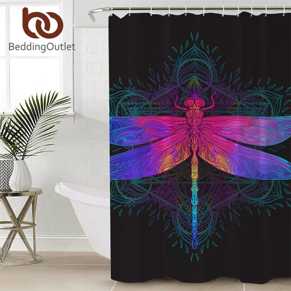 Cortina de ducha de Mandala BeddingOutlet Dragonfly, impermeable, de poliéster, colorido, Cortina de baño con ganchos de insectos, púrpura y rosa